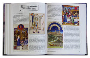 Textbook 2-page spread showing the Limbourg Brothers